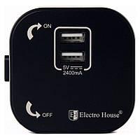Розетка 2-я USB Pandora Black 2A IP40, фото 1
