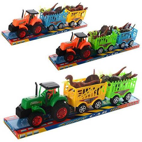 Трактор 906-277 з причепом, інерц., дінозаври, 3 кольори, бліст., 51,5-11-13,5 см, фото 2