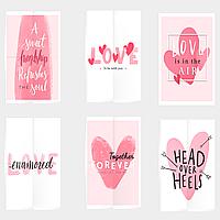 Открытки на день Святого Валентина Розовые 6 штук