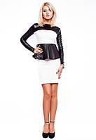 Платье с баской черно-белое Эмма, фото 1