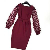Нарядное коктельное платье бордовое с красивыми рукавами