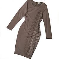 Нарядное платье трикотажное светло-коричневое