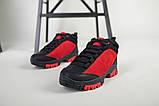 Ботинки для мальчика из нубука красные с вставками черного цвета, фото 3