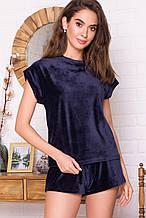 Женская пижама синего цвета с футболкой и шортами из велюра Нисса