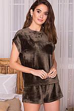 Женская пижама оливкового цвета с футболкой и шортами из велюра Нисса