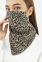 Женская маска платок на резинке с леопардовым принтом