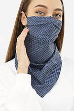 Женская текстильная маска платок синего цвета с узором