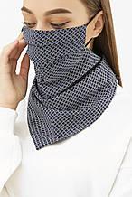Женская маска платок на резинке в черно-синие ромбы