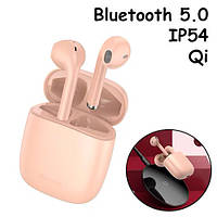 Наушники беспроводные, гарнитура с кейсом Baseus Encok W04 Pro Bluetooth Розовые