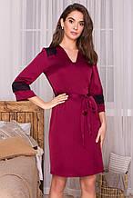 Женский короткий халат бордового цвета Неада с кружевными вставками