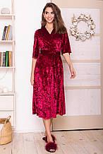 Женский велюровый халат Рита бордового цвета на короткий рукав