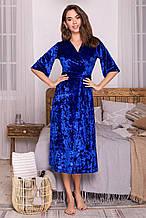Женский велюровый халат Рита синего цвета на короткий рукав