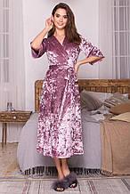 Женский велюровый халат Рита лилового цвета на короткий рукав