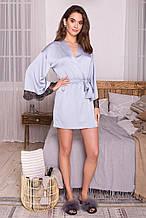 Женский короткий халат серо-голубого цвета Торал с кружевными вставками