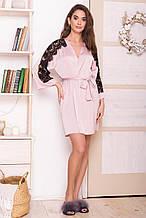 Женский короткий халат пудрового цвета Хадия с кружевными вставками