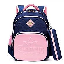 Школьный ортопедический рюкзак с пеналом и светоотражателями для девочки 1, 2, 3, 4, 5 класс, портфель