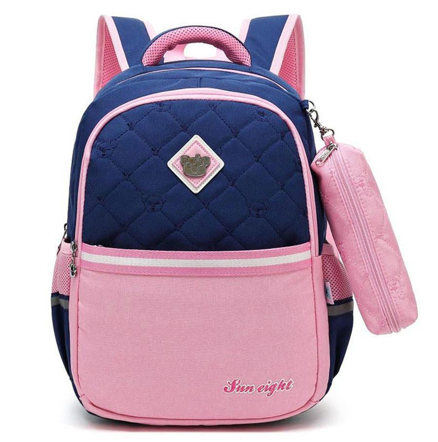 Школьный ортопедический рюкзак с пеналом для девочки 3-4-5 класс (8-9-10-11 лет), сине-розовый портфель