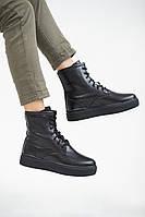 Женские ботинки кожаные зимние черные Yuves 130 На меху (41)