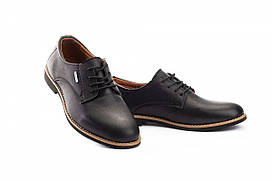 Подростковые туфли кожаные весна/осень черные Yuves М5 (Trade Mark) (32)