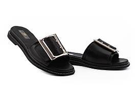 Женские шлепанцы кожаные летние черные Mkrafvt Fashion Ш-28 (36)