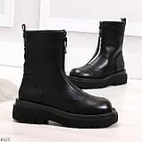 Эффектные трендовые черные женские ботинки челси на низком ходу 36-23см, фото 4