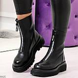 Эффектные трендовые черные женские ботинки челси на низком ходу 36-23см, фото 6