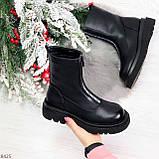 Эффектные трендовые черные женские ботинки челси на низком ходу 36-23см, фото 8
