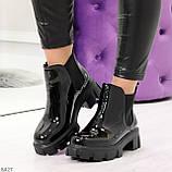 Модные демисезонные женские лаковые ботинки челси на массивной подошве, фото 7