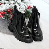 Модные демисезонные женские лаковые ботинки челси на массивной подошве, фото 8