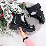 Модные демисезонные женские лаковые ботинки челси на массивной подошве, фото 10