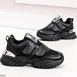 Трендовые текстильные миксовые черные женские кроссовки на липучках, фото 2