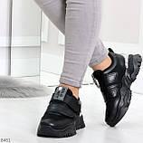 Трендовые текстильные миксовые черные женские кроссовки на липучках, фото 3