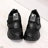 Трендовые текстильные миксовые черные женские кроссовки на липучках, фото 4