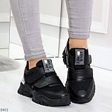 Трендовые текстильные миксовые черные женские кроссовки на липучках, фото 5