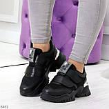 Трендовые текстильные миксовые черные женские кроссовки на липучках, фото 6