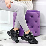 Трендовые текстильные миксовые черные женские кроссовки на липучках, фото 7