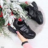 Трендовые текстильные миксовые черные женские кроссовки на липучках, фото 9