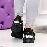 Трендовые текстильные миксовые черные женские кроссовки на липучках, фото 10