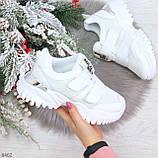 Трендовые текстильные миксовые белые женские кроссовки на липучках, фото 2