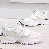 Трендовые текстильные миксовые белые женские кроссовки на липучках, фото 3
