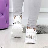 Трендовые текстильные миксовые белые женские кроссовки на липучках, фото 4