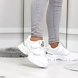 Трендовые текстильные миксовые белые женские кроссовки на липучках, фото 5