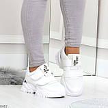 Трендовые текстильные миксовые белые женские кроссовки на липучках, фото 6
