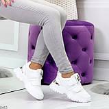 Трендовые текстильные миксовые белые женские кроссовки на липучках, фото 7