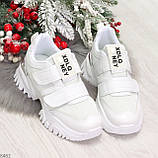 Трендовые текстильные миксовые белые женские кроссовки на липучках, фото 8
