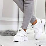 Трендовые текстильные миксовые белые женские кроссовки на липучках, фото 10