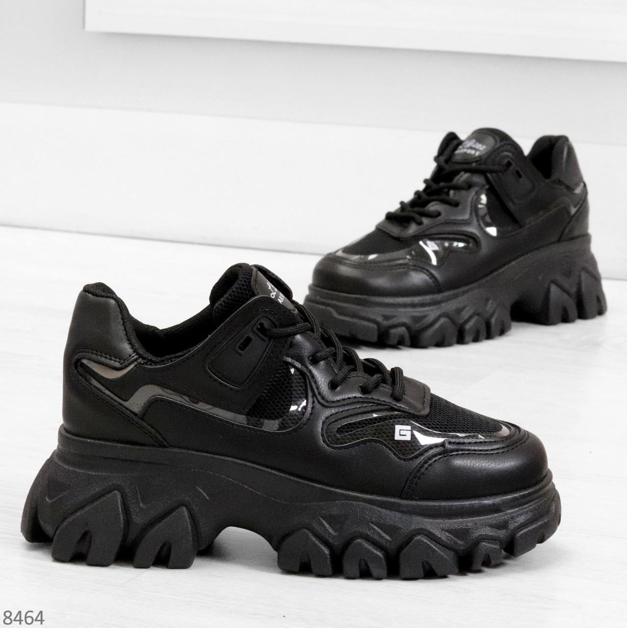 Модные миксовые черные женские кроссовки сникерсы на шнуровке