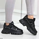 Модные миксовые черные женские кроссовки сникерсы на шнуровке, фото 3