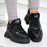 Модные миксовые черные женские кроссовки сникерсы на шнуровке, фото 4