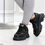 Модные миксовые черные женские кроссовки сникерсы на шнуровке, фото 5